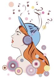 Наклейки Музыка в наушниках