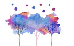 Наклейки Акварельные деревья