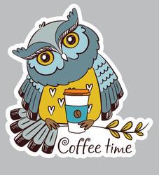 Наклейки Кофейная сова