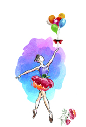Наклейки Балерина с шариками
