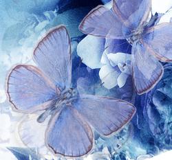 Наклейки Синие бабочки