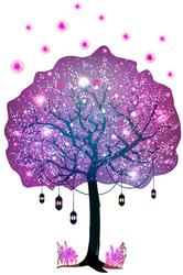 Наклейки Дерево с фонариками