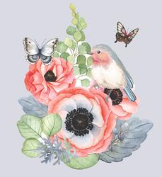 Наклейки Цветы Акварель