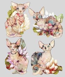 Наклейки Котики с цветами