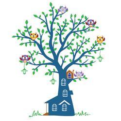 Наклейки Синее дерево с совушками