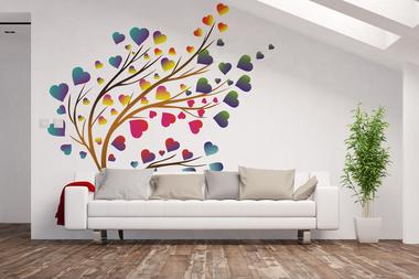 Наклейка дерево сердечек