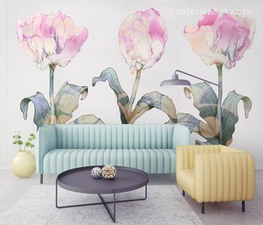 Наклейка Розовые тюльпаны
