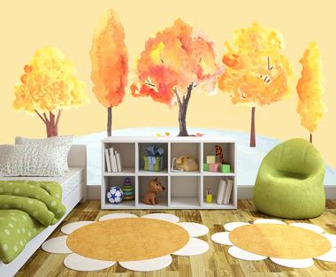 Наклейка Осенние Деревья Акварель