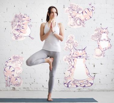 Наклейка Коты в медитации
