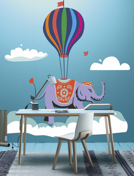 Наклейка Слон на воздушном шаре