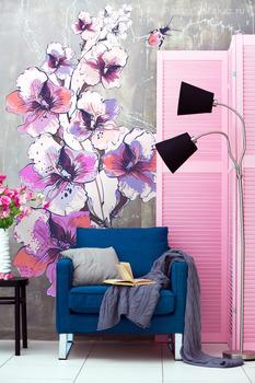 Наклейка Веточка розовой орхидеи
