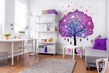 Наклейка Дерево с фонариками