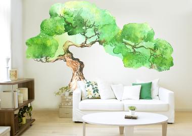 Наклейка Зеленое дерево Акварель