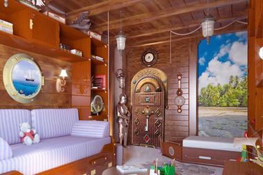 Наклейка Дверь в каюту корабля