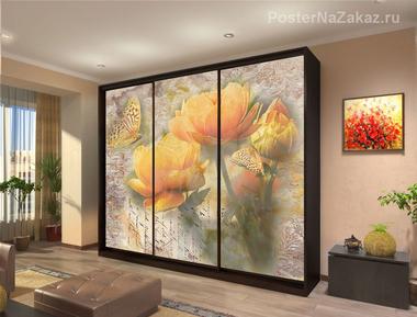 Наклейка Бабочки на цветах