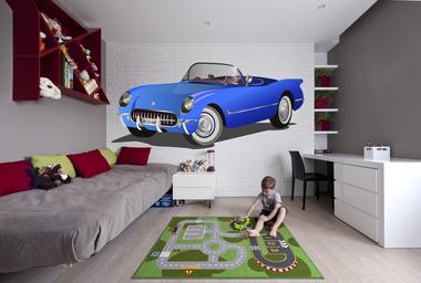 Наклейка синий кабриолет