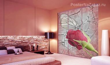 Наклейка Красная роза с бабочкой