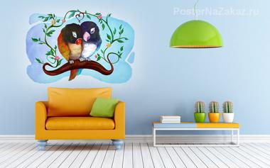 Наклейка Влюбленные птички