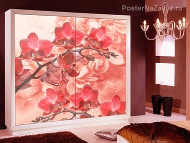Наклейка Красные орхидеи