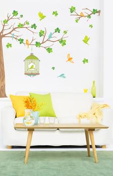 Наклейка дерево с птицами