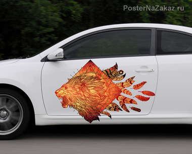 Наклейка Огненный лев