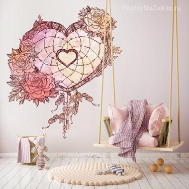 Наклейка Сердце с цветами