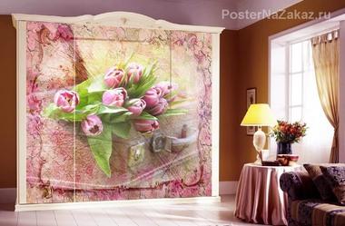 Наклейка Тюльпаны и чемодан