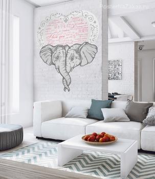 Наклейка Влюбленные слоны