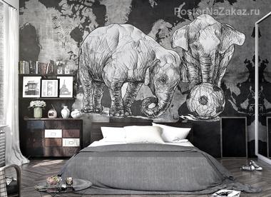 Наклейка Слоны и футбольный мяч