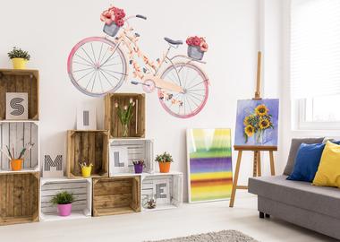 Наклейка Розовый велосипед