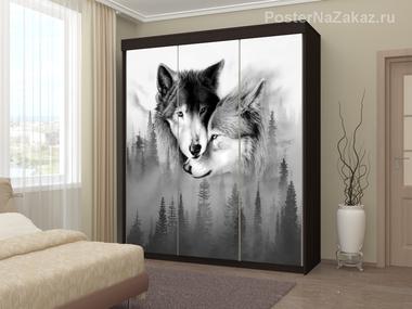 Наклейка Любовь и волки