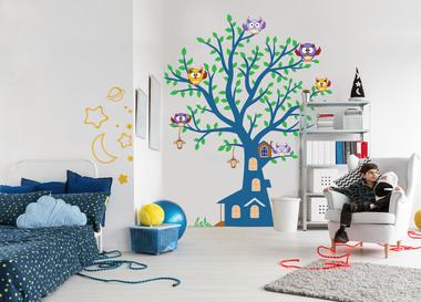 Наклейка Синее дерево с совушками