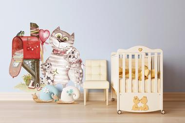 Наклейка Счастливая семья котиков