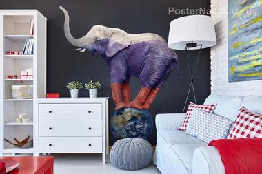 Наклейка Слон на глобусе