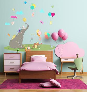 Наклейка Слон и воздушные шарики