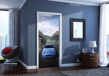 Наклейка Синяя машина
