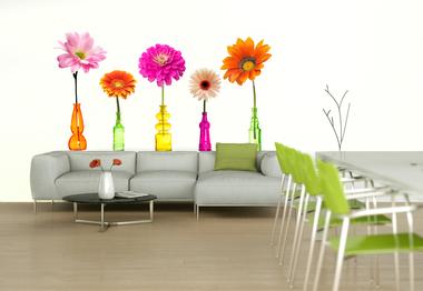 Наклейка Цветы в ярких бутылках