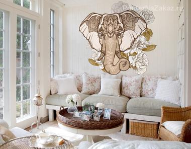 Наклейка Слон в цветах