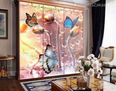 Наклейка Бабочки и бутоны цветов