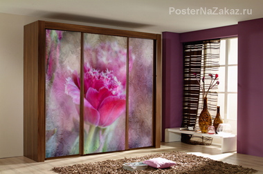 Наклейка Розовый тюльпан