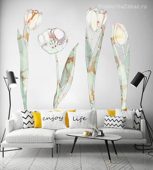 Наклейка Белые тюльпаны