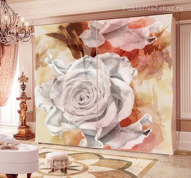 Наклейка Белая роза