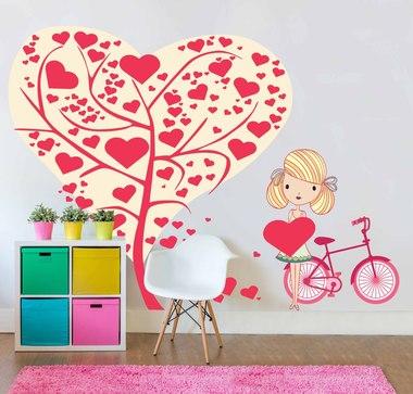 Наклейка дерево с сердечками