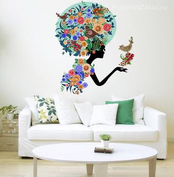 Наклейка Девушка в цветах