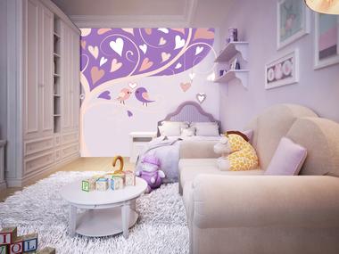 Наклейка Фиолетовое дерево с птичками