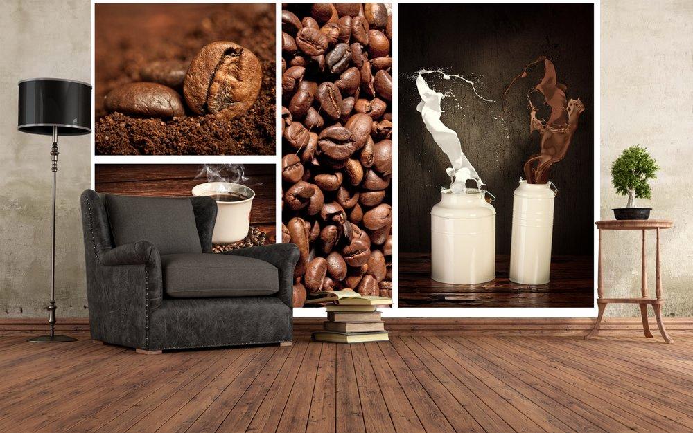 Фото кофейные обои в интерьере фото