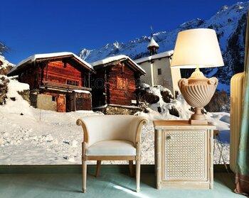 Фотообои на стену Деревянный домик зимой