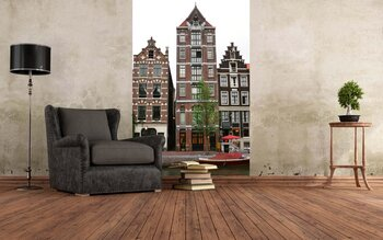 Фотообои на стену Вид с реки. Амстердам