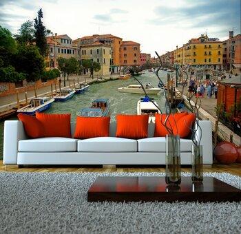 Фотообои Венеция, Италия. Транспортные пробки на канале (обработка)