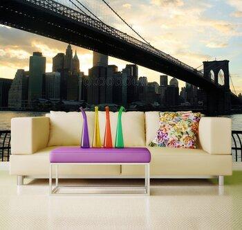 Фотообои на стену New York City skyline- Brooklyn Bridge